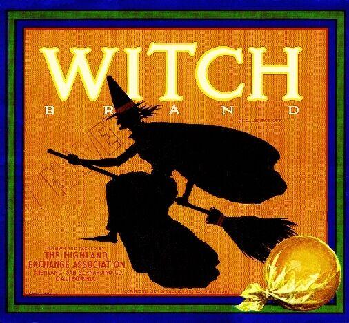 Highland Witch Halloween Version 2 Orange Citrus Fruit Crate Label Art Print