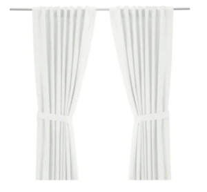 IKEA white curtains, rod and mounting brackets