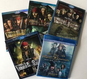 5 DVD Blu-ray set Pirates of Caribbean Like New.