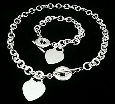 """HIGH POLISHED SILVER ELECTRO-PLATED 16"""" NECKLACE HEART & BRACELET TOGGLE (Silver Plated Heart Toggle)"""