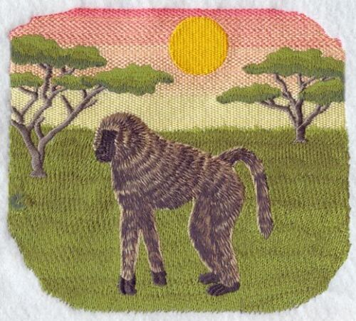 Embroidered Ladies Short-Sleeved T-Shirt - Savannah Baboon Scene M1918