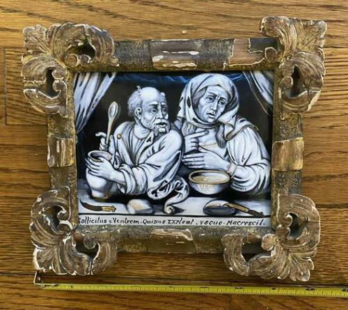 Antique Framed Limoges Plaque Two Figures Feasting With Latin Inscription