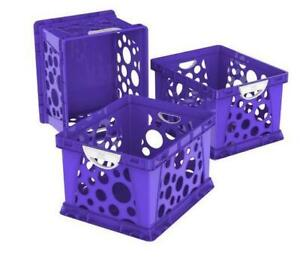 (DI16) Storex Large Storage And Filing Crate with Comfort Handles, Purple/White (Case of 3)-PICK UP ONLY!!