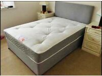 BRAND NEW GREY DOUBLE BED AND MATTRESS SET