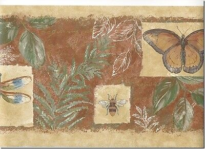 - Dragonfly Butterfly and Insects in the Garden on Rust Wallpaper Border 231B35432