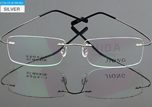 Titanium Alloy Rimless Eyeglass Frame Black Gray Silver Glasses Spectacles Optic