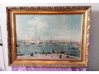 Gorgeous huge antique finish framed Canaletto print of Venice picture painting