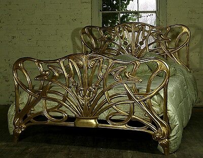 Mahogany 5' KIng Size Cheri Art Nouveau Gilt Gold Bed New Louis