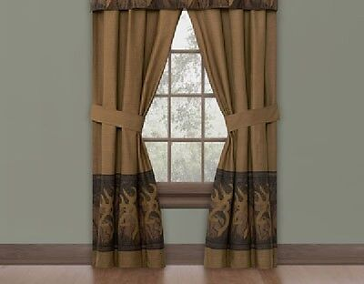 (BROWNING Oak Tree Buckmark Rod Pocket Curtain Drapes-Hunting Deer Treatment )