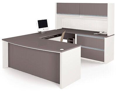 Bestar Connexion U Shape Office Desk W Oversized Pedestal In Sandstone