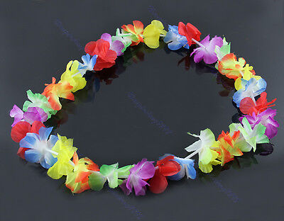 4pcs Hawaiian Flower Necklace Lei Headband Anklet Fancy Dress Garland Beach