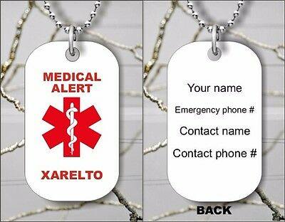 Medical Alert Xarelto Personalized Dog Tag Pendant Necklace   Dfs3z