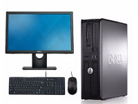 """PROFESSIONALLY REFURBISHED DELL OPTIPLEX PC WITH 19"""" MONITOR 4GB RAM 320 GB HDD DUAL CORE 3GHZ"""