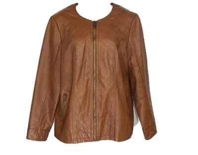 Alfani Womens Brown Faux Leather Quilted Jacket Size 0X NEW 12W 14W Zip Up