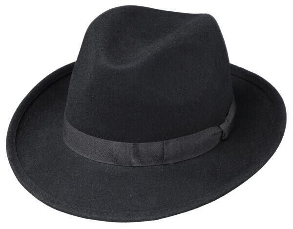 Wollhut Herren Mafia Gangster Bogart Wollfilzhut Filzhut Hut Traveller Fedora
