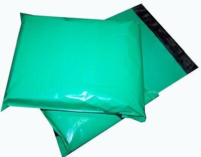 100x Green Plastic Mailing Bags 14x20