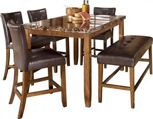 Counter Height Dining Set Table 4 Chairs Bench EBay