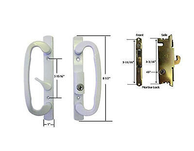 Lovely Glass Patio Door Handle Set With Mortise Lock, White, Keyed,3 15