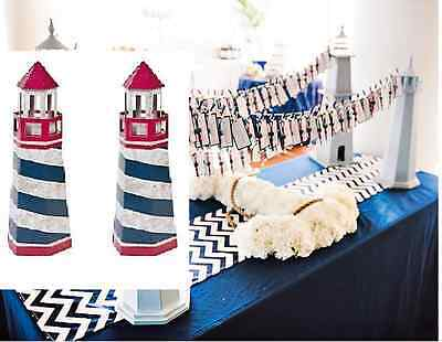 2 Lighthouse Red White Blue Rustic Nautical CENTERPIECE Wedding Baby Beach PARTY (Red White Blue Centerpieces)