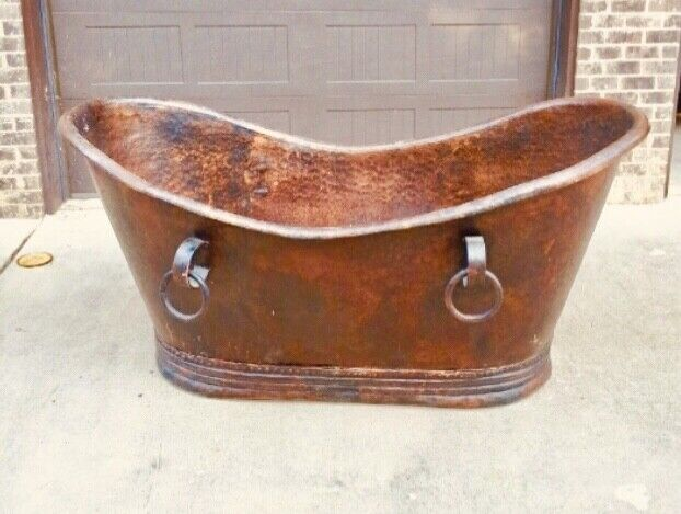 "72"" Copper Double Slipper Bathtub freestanding. New. Been in storage. Pd 4900."