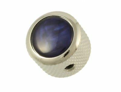 Q-Parts Blue Pearl Acrylic and Chrome Dome Knob for Electric and Bass Guitar