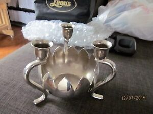 silver candle floral holder