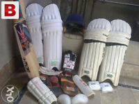 JOB LOT Cricket gear Bats Wheelie Bag Pads Helmet Gloves NEW or USED end of season SALE