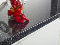 Black Sparkle Quartz Kitchen Worktop - 3000 x 600 x 40mm - BRAND NEW