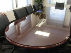 Oval Glass Top Table Protector - Smokey Gray Tempered Glass