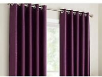 NEW-AUBERGINE /PLUM FULLY LINED EYELET FAUX SILK CURTAINS 228 CM X 228 CM TOP QUALITY