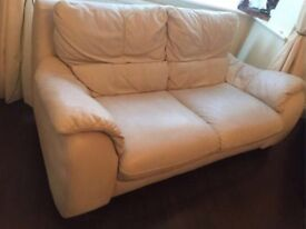 Italian Leather 2 Seater Sofa in ivory