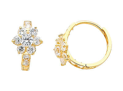 14K Real Yellow Gold Small Flower CZ Huggies Earrings for Baby and Children Yellow Gold Flower Earrings