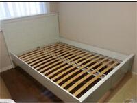 Ikea Brusali White Double Bed
