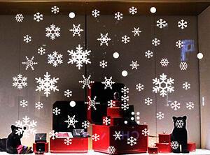70 Snowflakes Christmas Xmas Wall Stickers Fashion Flower Removable Decor Art Au