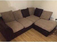 Large Mint Condition Brown L shape Sofa