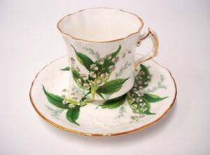 Hammersley China Victorian Lily of the Valley Lyre Shape Teacup