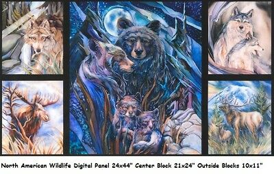 N American Wildlife DP Panel cotton quilt fabric Kaufman Deer Moose Bear Wolf