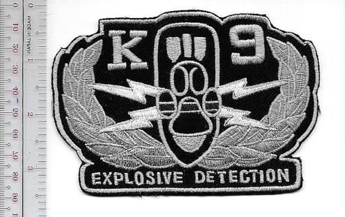 K-9 EOD Police Explosive Ordnance Detection Qualified Team Blue Line Patch grey