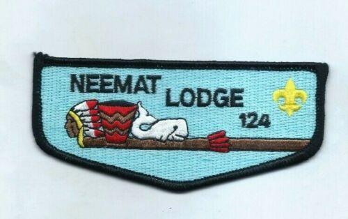 "New Rare ""Neemat Lodge 124 Flap Black Border OA Boy Scouts Patch"" Mint Condition"