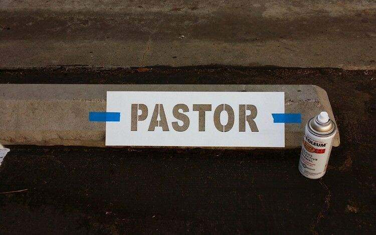 """PARKING LOT STOP BLOCK STENCIL SIGN """"PASTOR"""" or VISITOR or choose one"""