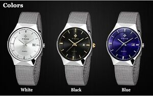 Ultra slim Quality Famous Brand Watches Men Stainless Steel Mesh