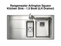 Rangemaster Arlington Square Kitchen Sink - 1.5 Bowl (LH Drainer)