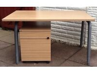 Solid Beech colour office desk with 2 drawer pedestal.