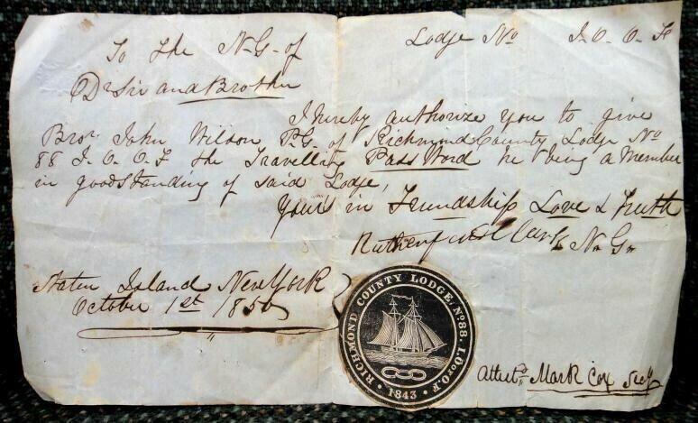 1856 antique IOOF  HANDWRITTEN PASSWORD PERMISSION STATEN ISLAND NY LODGE NO 88