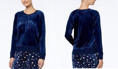 Jenni by Jennifer Moore Long Sleeve Velour Pajama Top 471205 Blue Small Medium