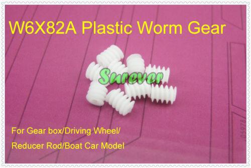 10PCS W6X82A Plastic Worm Gear for 2mm Motor Shaft Axis Wheel Car Toy Boat Model
