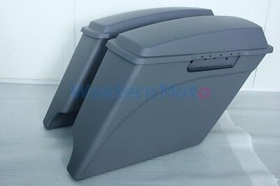 "Gray primer coated 4"" both cutout Stretched extended saddlebags for Harley 93-13"