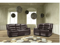 MALAGA 3 AND 2 SEATER PURE LEATHER RECLINER SOFA WITH DRINKS HOLDER