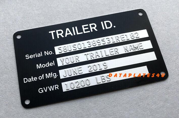 ENGRAVED SERIAL NUMBER Tag ID Plate Serial Number