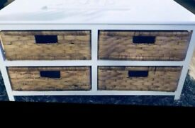 Wooden unit with wicker draws. £15.00